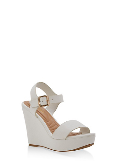 Faux Leather Ankle Strap Wedge Sandals | Tuggl