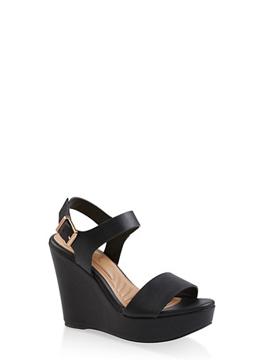 Ankle Strap Wedge Sandals,BLACK,large