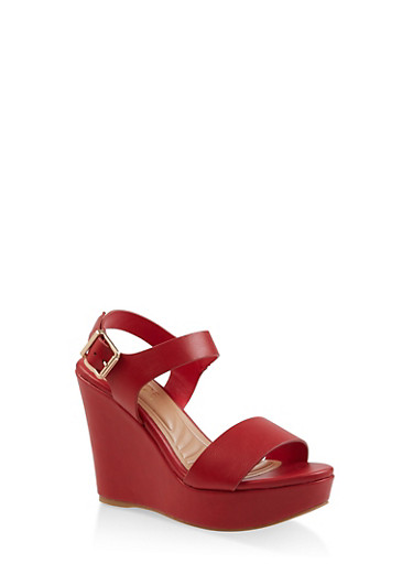 Ankle Strap Wedge Sandals,RED,large