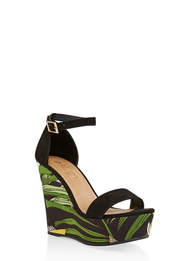 Printed Wedge Platform Sandals,BLACK SUEDE,large