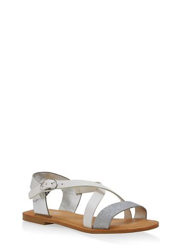 Glitter Cross Strap Sandals,WHITE,large