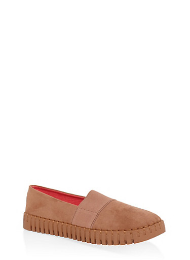 Slip On Elastic Creeper Flats,CAMEL,large