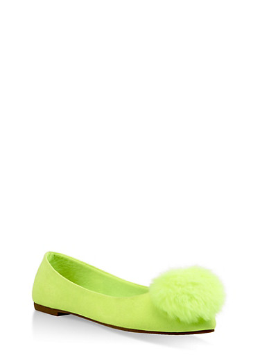 Pom Pom Pointed Toe Flats,NEON YELLOW,large