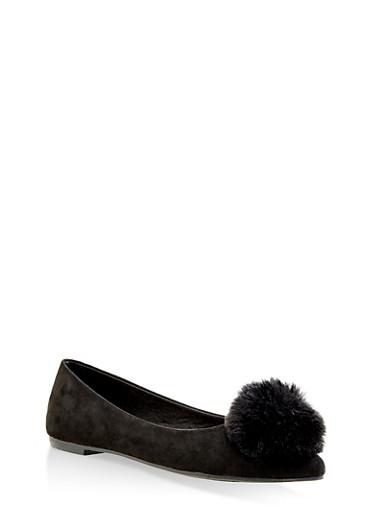 Pom Pom Pointed Toe Flats,BLACK SUEDE,large