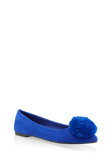 Pom Pom Pointed Toe Flats,NAVY S,large
