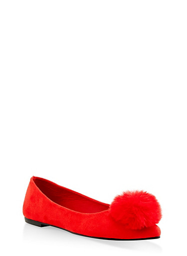Pom Pom Pointed Toe Flats,RED S,large