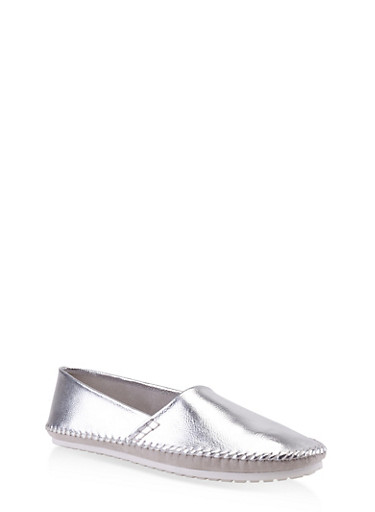 Slip On Moccasin Flats,SILVER,large