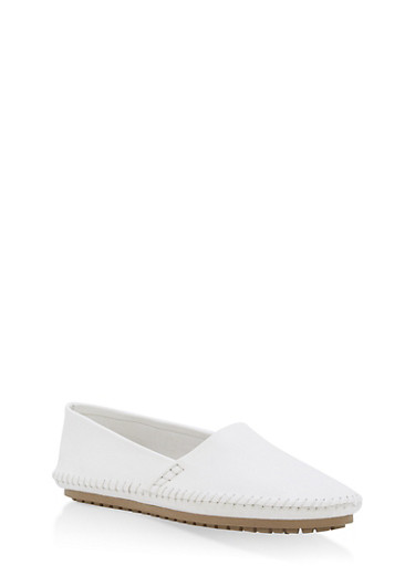 Slip On Moccasin Flats,WHITE,large