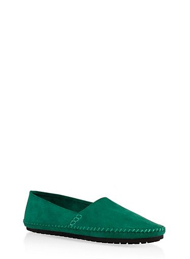Slip On Moccasin Flats,GREEN,large