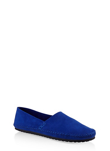 Slip On Moccasin Flats,RYL BLUE,large
