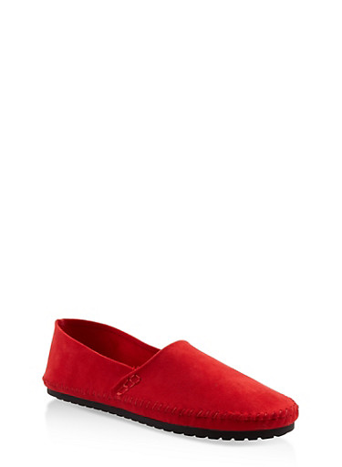 Slip On Moccasin Flats,RED,large