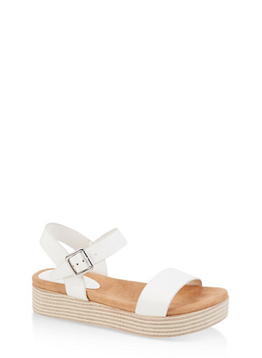 One Band Platform  Ankle Strap Sandals,WHITE,large