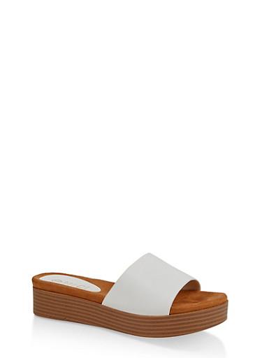 One Band Platform Slide Sandals,WHITE,large