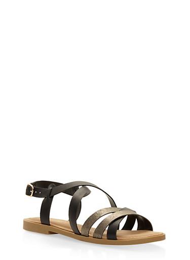 Strappy Shimmer Sandals,BLACK,large