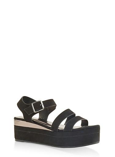 Double Band Ankle Strap Platform Sandals,BLACK SUEDE,large