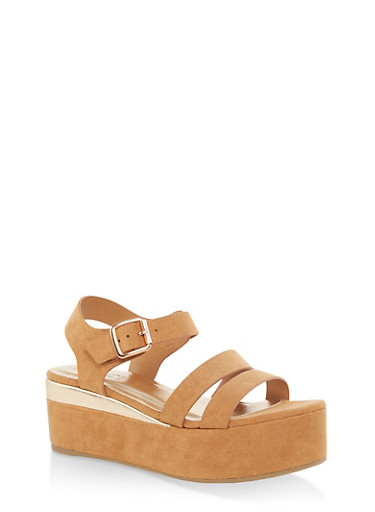 Double Band Ankle Strap Platform Sandals,TAN S,large