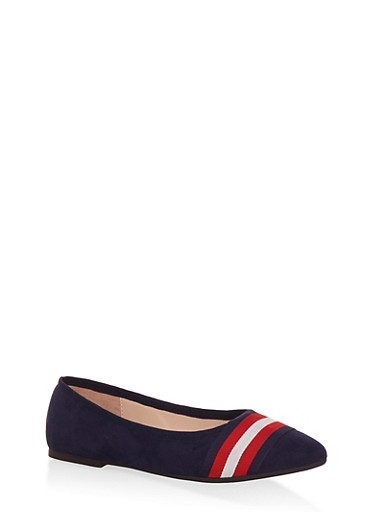 Striped Band Faux Suede Flats,NAVY,large