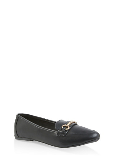 Metallic Detail Loafers,BLACK,large