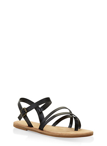 Crossover Strap Sandals,BLACK,large