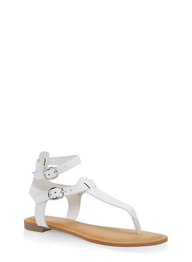 Ankle Strap Thong Sandals,WHITE,large