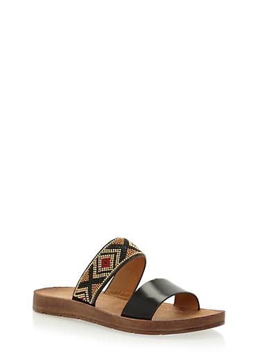 Aztec Beaded Double Strap Slide Sandals,BLACK PU,large