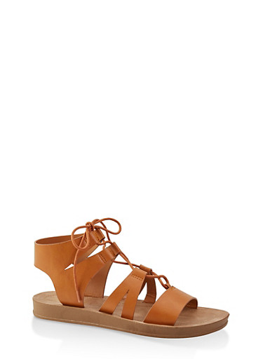 Lace Up Gladiator Sandals | 3110004066308,TAN,large