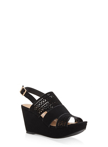 Faux Suede Laser Cut Wedge Sandals | Tuggl