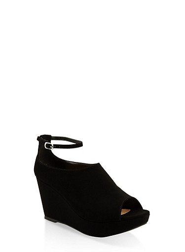 Ankle Strap High Heel Wedge Sandals,BLACK,large