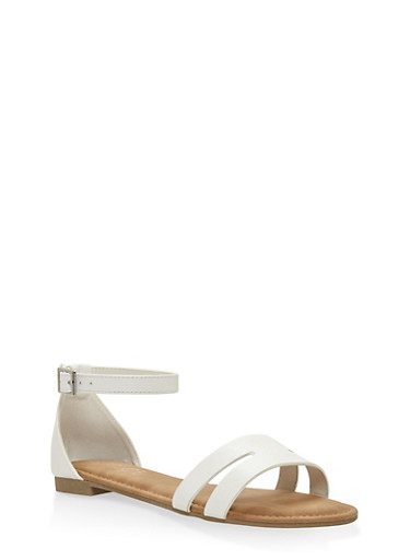 Cut Out Band Ankle Strap Sandals,WHITE,large