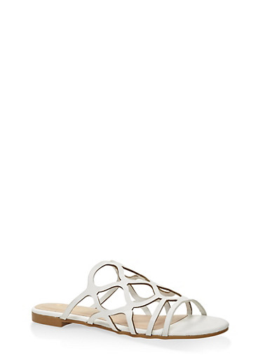 Laser Cut Slide Sandals,WHITE,large