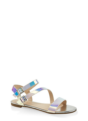 Double Buckle Asymmetrical Sandals,SILVER,large