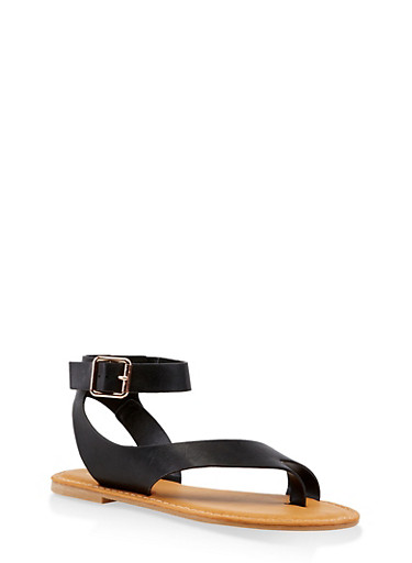 Asymmetrical Toe Ring Buckle Strap Sandals,BLACK,large