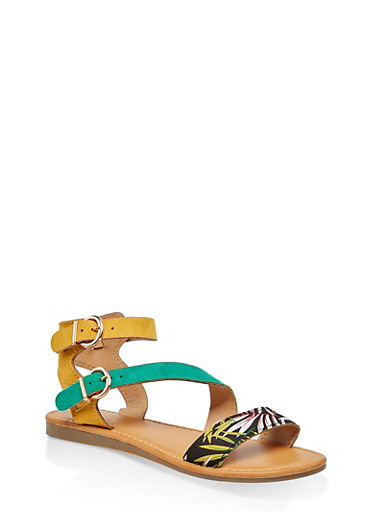 Asymmetrical Double Ankle Strap Sandals,GREEN,large