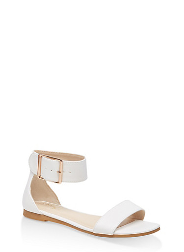 Buckle Ankle Strap Single Band Sandals,WHITE,large