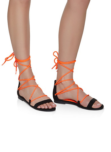 Neon Ankle Lace Up Sandals,NEON ORANGE,large