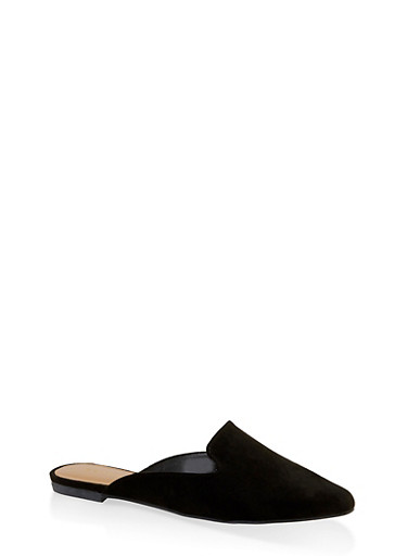 Pointed Toe Flat Mules,BLACK SUEDE,large