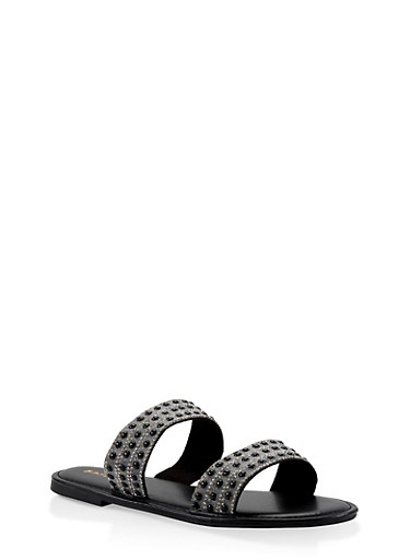 Beaded Rhinestone Double Band Slide Sandals,BLACK,large