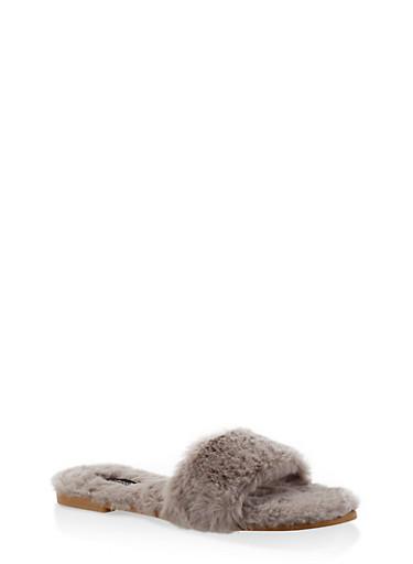 Faux Fur Slide Sandals,GRAY,large