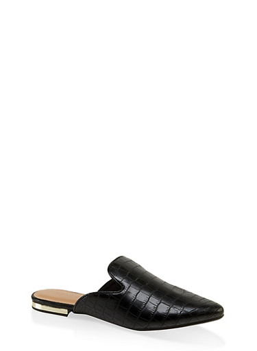 Pointed Flat Mules,BLACK,large