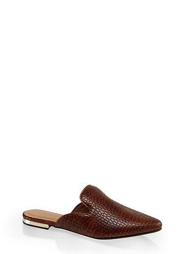 Pointed Flat Mules,BROWN,large
