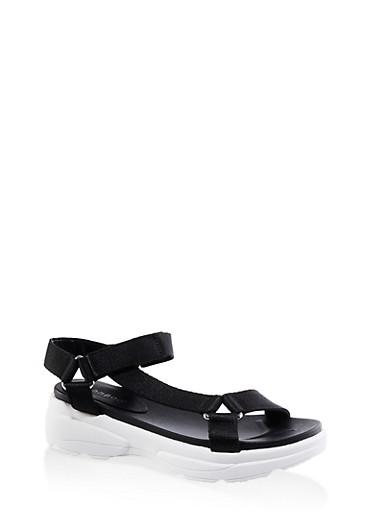 Sporty Velcro Strap Sandals,BLACK,large