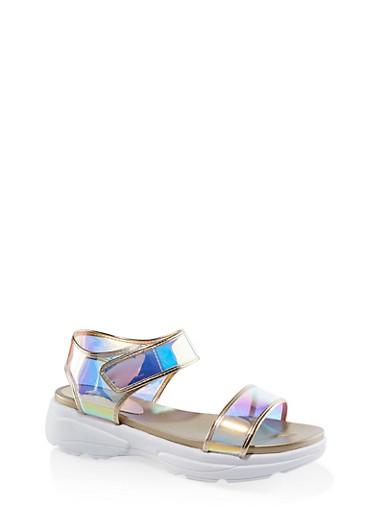 Metallic Velcro Ankle Strap Sporty Sandals,METALLIC MULTI,large