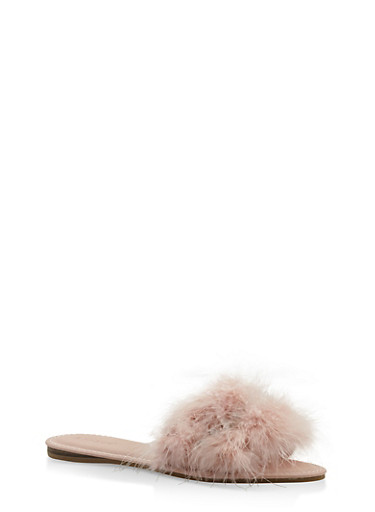 Rhinestone Feather Slide Sandals,BLUSH,large