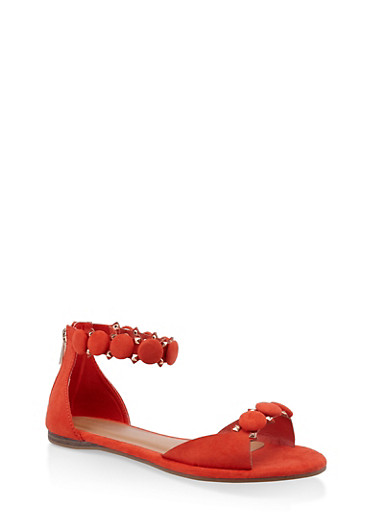 Studded Ankle Strap Sandals,ORANGE,large