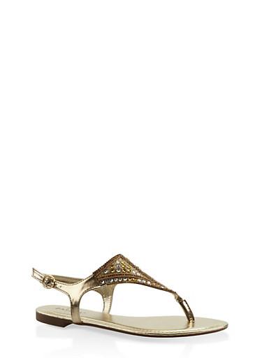 Rhinestone Studded Thong Sandals,GOLD,large