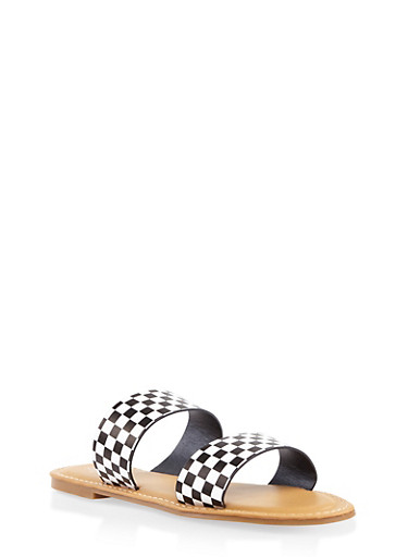 Double Band Slide Sandals,BLACK/WHITE,large