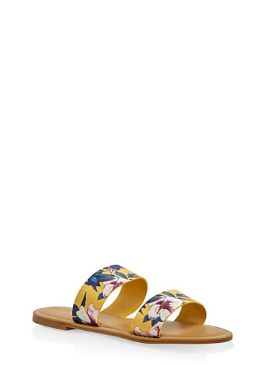 Double Band Slide Sandals,YELLOW,large