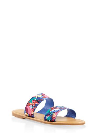 Double Band Slide Sandals,BLUE,large