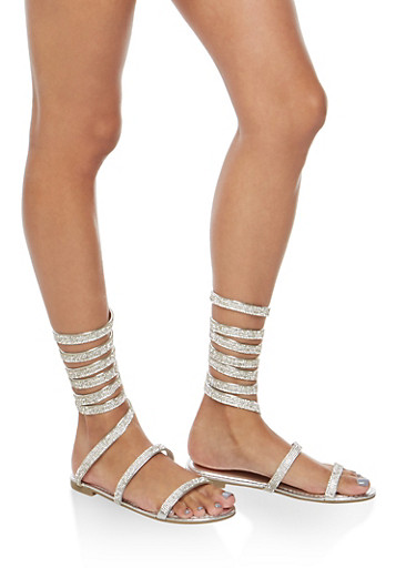 Rhinestone Coil Wrap Sandals,SILVER,large