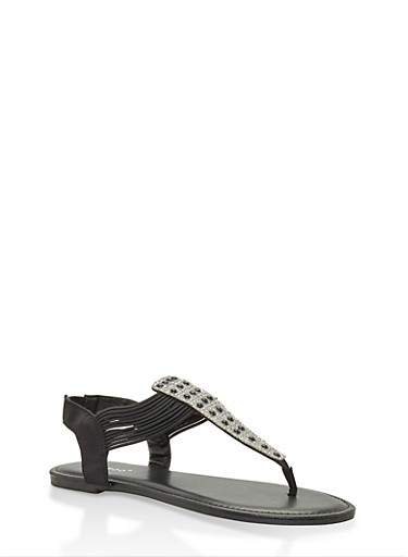 Faux Pearl Studded Thong Sandals,BLACK,large